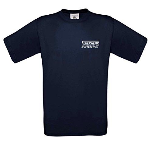 T-Shirt FEUERWEHR beidseitig bedruckt mit Wunschort Navy reflektierend