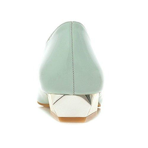VogueZone009 Femme Tire Fermeture D'Orteil Pointu à Talon Bas Pu Cuir Mosaïque Chaussures Légeres Vert