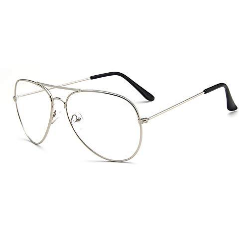 Gaodaweian Retro Pilot Aviator Brillen Mode Brille Klar Lesebrille Klare Linse Spektakel Metallrahmen Eyewear für Frauen und Männer Erwachsene Kinder (Color : Silver)