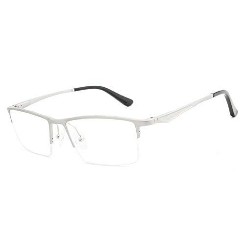 New Aluminium Magnesium Halbrahmen Ultra hellblau Flache Spiegel Brillengestell Mode Hipster Männer Brille (Color : Silver)