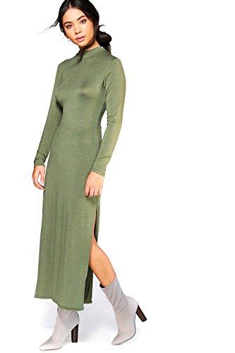 Kaki Femme Daphne High Neck Split Side Midaxi Dress Kaki