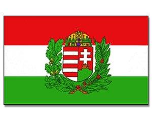 Hongrie yantec drapeau avec armoiries 150 x 250 cm