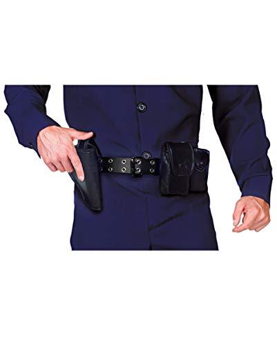 Utility Kostüm Belt - Horror-Shop Schwarzer Polizeigürtel Taschen als Kostüm Zubehör
