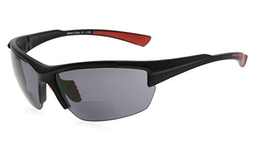 Eyekepper TR90 Sport Halbrandlose Bifokale Sonnenbrille Baseball Laufen Angeln Fahren Golf Softball Wandern Leser (Schwarzer Rahmen Roter Tempel, 1.50)