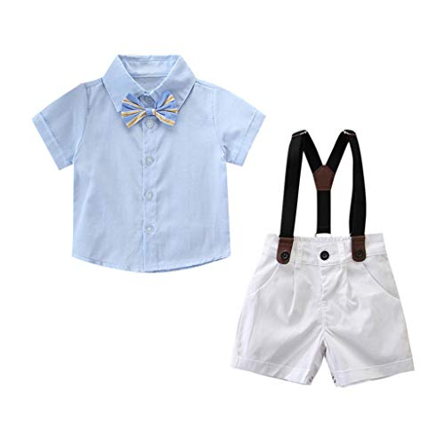 e0108069b PAOLIAN Conjuntos de Bebe Niños Vestir Verano Ceremonia Esmoquin Blusas  Pantalones Tirantes Niño Manga Corta Ropa