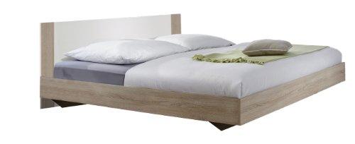 785293 Bett 180 x 200 cm Liegefläche, Aufstellmaß 189 x 80 x 210 cm, Eiche Sägerau Nachbildung / Absetzungen, alpinweiß
