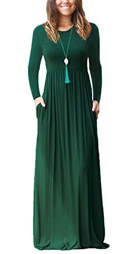 Damen Langarm Loose Plain Maxikleider Casual Lang Kleider mit Taschen Dunkelgrün X-Large