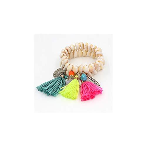Awertaweyt Edelstein Perlen Armband Jewelry Bracelet for Women Shell Bracelet Tassel Alloy Pendant Bohemian Bracelets Female Girl Accessories B304a - Omega-3-edelsteine