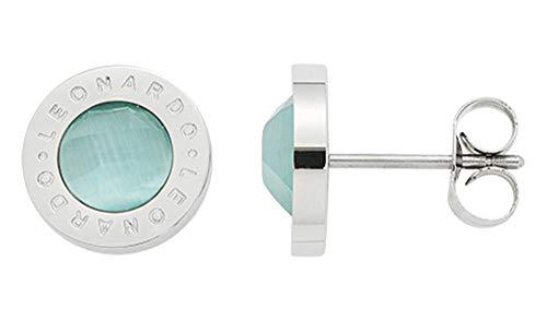 JEWELS BY LEONARDO Damen-Ohrstecker Matrix cat's eye mint, Edelstahl mit mintfarbenem Farbglasstein und LEONARDO-Gravur, Größe (B/H/T): 10/10/14 mm