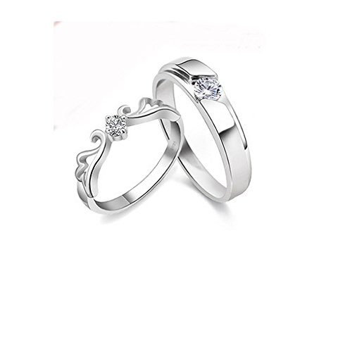 GirlZ! Platinum plated Romantic crown couple rings (2 pieces - Men and Women)