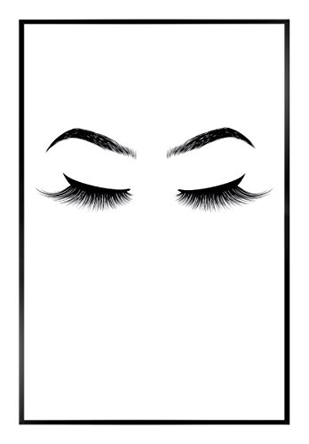 Gerahmtes Bild Din A4 Format klein 20 x 30 cm - Papierdruck im Rahmen Holzoptik MDF Fertigbild Slim Frame (Motiv: Wimpern und Augenbrauen - Rahmen schwarz)