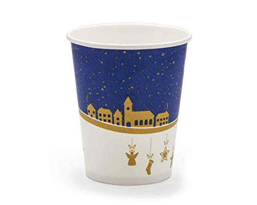 75x Mulled Wine Cups, Paper Cups (sustainably Produced) Winter Motif with 200 ml Filling Volume