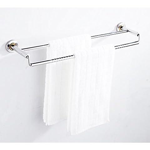 50cm doble barra de toalla de pared de baño de montaje organizador de la ropa, SUS304 cepillado titular de la barra de toalla de acero