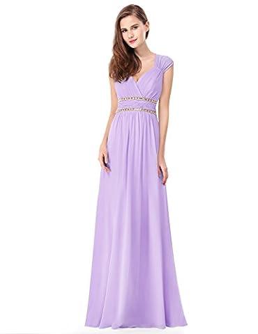 Ever Pretty Womens Sexy V-Neck Sheer Open Back Beaded Empire Waist Prom Dress 16 UK Lavender