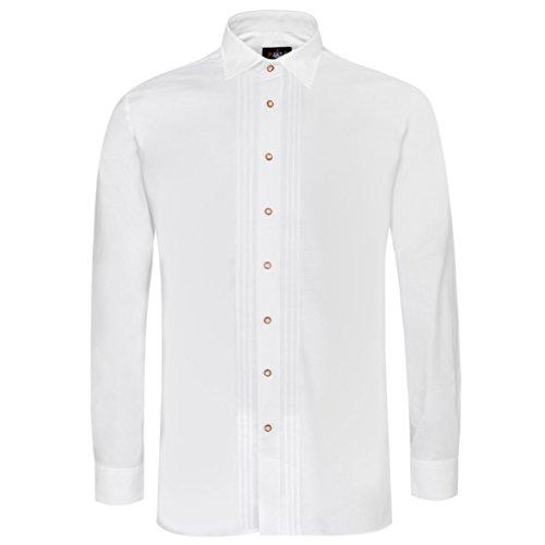 Trachtenhemd Achim Regular Fit mit Biesen in Weiß von Hammerschmid, Farbe:Weiß, Halsumfang:46