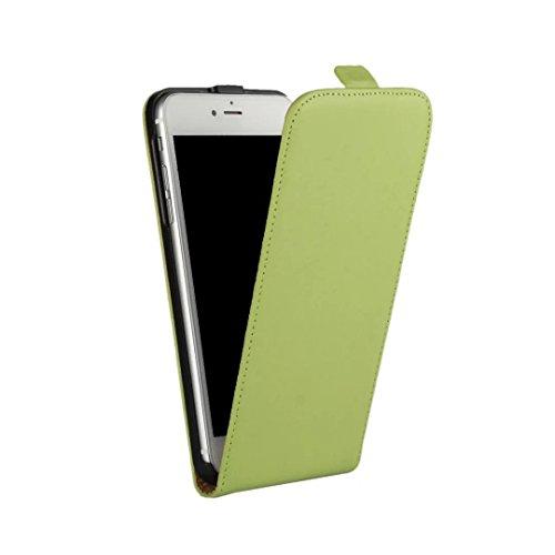 AMEEGO iPhone SE / 5S / 5 Erstklassiger echter dünner realer lederner Mappen-Schlag-Fall GREEN