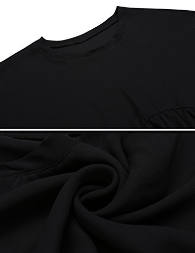 Damen Herbst Casual Chiffonbluse Rundhalsausschnitt mit Rüschen Locker Shirt Top Halbarm Einfarbig Schwarz