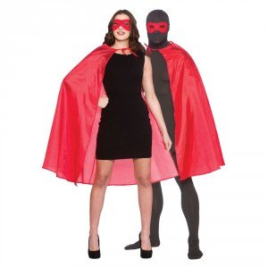 Rotes Superhero Fancy Dress Cape und (Erwachsene Fancy Dress)