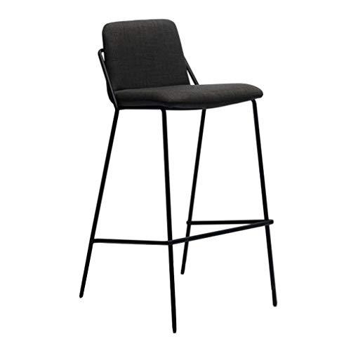 Sgabelli da bar sgabelli alti da cucina della counter kitchen con schienale in tessuto/metal black 4 legs per cafe/camera da letto/soggiorno/balcone (altezza seduta: 65/75 cm)