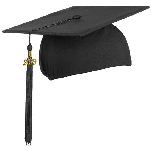 Lierys Doktorhut (Studentenhut) 2018 Jahreszahl Anhänger | 54-61 cm | Hut für Abschlussfeiern vom Studium, Universität, Hochschule, Abitur | Absolventenhut in blau, schwarz, rot (10 Stück - schwarz)