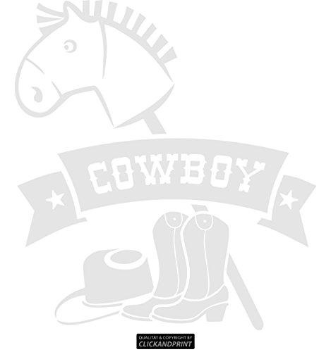ber » Bannerschriftzug: Cowboy - Pferd, Hut & Stiefel, 130x118,6cm, Glasdekor silber grob (Raureif- und Sandstrahleffekt) • Dekoaufkleber / Autoaufkleber / Sticker / Decal / Vinyl ()