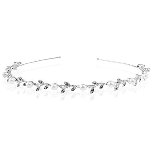 LEORX Perla y mujeres diadema pelo Clip boda Rhinestone nupcial decoración Tiara (plata)
