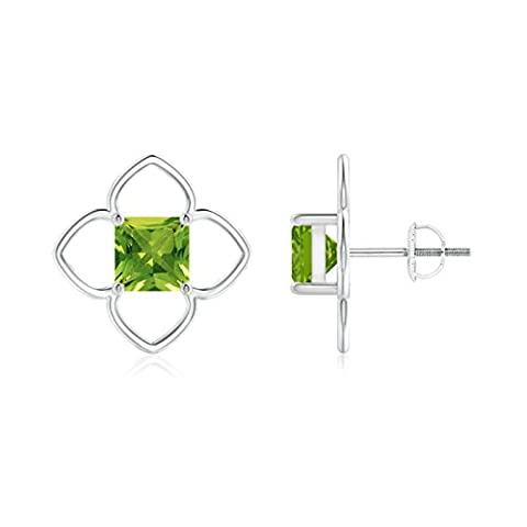 Solitaire Square Peridot Clover Stud Earrings in 14K White Gold (6mm Peridot)