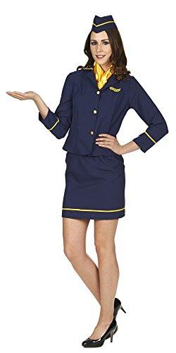 Stewardess Kostüm für Damen 4-tlg. Gr. 32 34 - Tolles Flugbegleiterin Damenkostüm für Karneval oder Mottoparty (Pilot Und Flugbegleiterin Kostümen)
