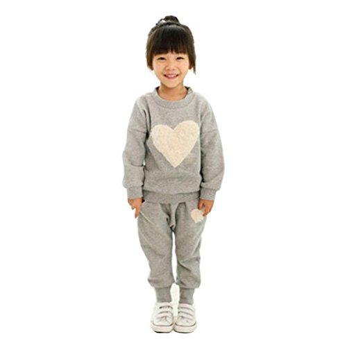 Internet Bébé filles enfants Manches longues Coton mélangé coeur impression Sweatshirt + sarouel Ensemble Internet_8810