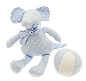 Gisela Graham Spieluhr Baby Boy blau Maus & Ball Rassel & Stofftier Geschenk-Set in...