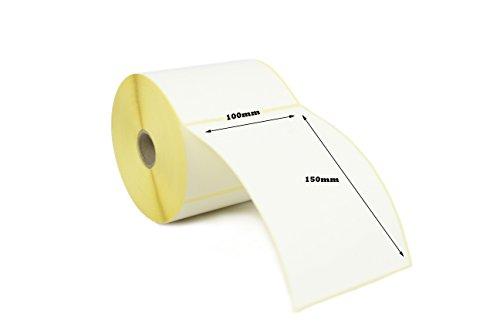 Etichette termiche dirette da 100 mm x 150 mm per stampanti Zebra. 20 rotoli/250 etichette per rotolo. 5.000 etichette in totale.