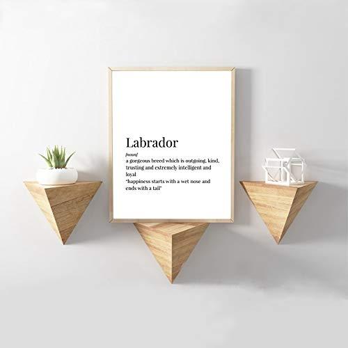 wanmeidp Labrador Definition Leinwand Kunstdruck Poster Hund Labrador Retriever Geschenk Malerei SchwarzWeißFoto Home Wand Art Deco 50x70cm