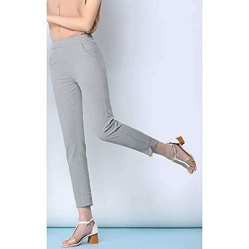 COOOOEENS Neue Damen hellgraue Farbe Hosen Sommer dünn neun Cent Hosen Ice Silk Cotton kleine Füße Größe Hosen Floral Capri Cropped Pants