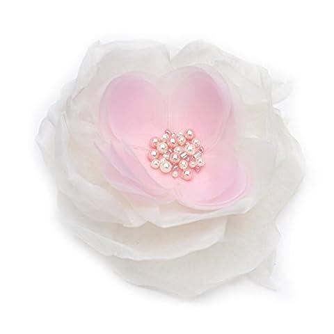 Broche fleur en tissu organza, couleur rose clair et ivoire. Broderie perles.