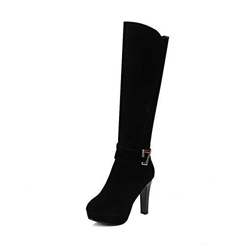 VogueZone009 Damen Hoher Absatz Naht Rund Zehe PU Leder Schnüren Stiefel, Weiß, 43