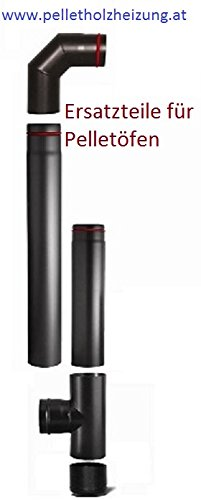 Rauchrohrset 80mm mit 1 m und 25 cm Rauchrohr, Bogen 90 Grad und T-Stueck mit Reinigungskappe