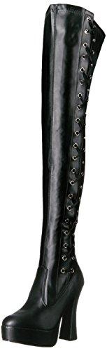 Pleaser Women's Ele3050/b/Pu Boot, Black Str Faux Leather/Black Matte, 13 M US