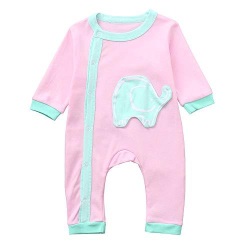 Infant Kid Spielanzug feiXIANG Langarm Strampler Overall Cartoon Elefant Print Baby Kleidung Jungen & Mädchen Lange Ärmel Outfit(Rosa,66)