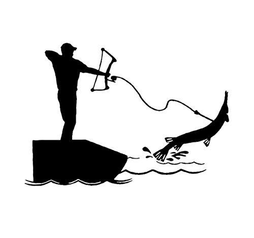16,3 CM * 11,4 CM Bowfishing Auto Aufkleber Vinyl Aufkleber Bogen Angeln Bogen Reel Fisch Pfeil Linie Haken Schwarz/Silber 5PCS -