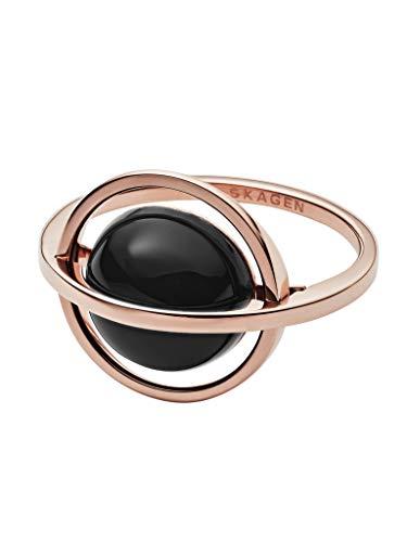 Skagen Damen-Ringe Edelstahl mit Rund Onyx \'- Ringgröße 50 SKJ1148791-5.5