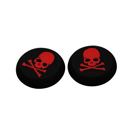Timorn Ersatz Schädel-Silikon-Kappen-Abdeckung Thumbstick für PS4, PS3, PS2, XBOX ONE XBOX 360 (1 Paar Rot)