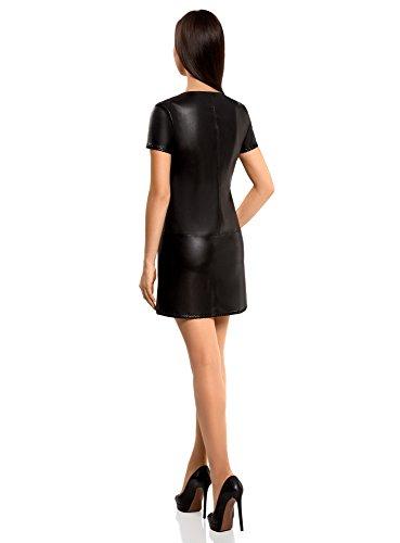 oodji Ultra Damen Kurzarm-Kleid in Lederoptik Schwarz (2900N)