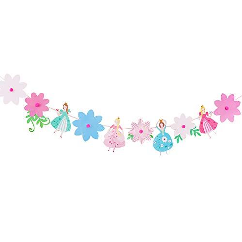 1PC Geburtstags-Fahnen-Prinzessin-Thema-Partei Bunting Pennant Dekor Hochzeit Props Papierblume Flag Banner (Prinzessin Thema Hochzeit)