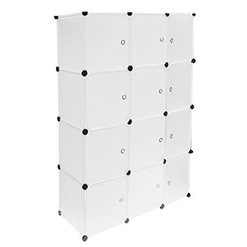 Homgrace Armario Modular de 12 Cubos con Puertas, Armario de Almacenaje, Para Ropa, Zapatos, Juguetes y Libros (Blanco)
