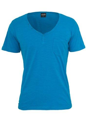 Urban Classics Slub Y-Neck Henley T-Shirt, turquoise Turquoise