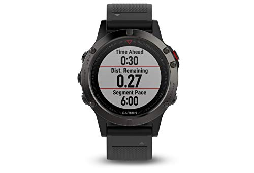 Garmin Fenix 5- Reloj multideporte, con GPS y medidor de frecuencia cardiaca, lente de cristal y bisel de acero inoxidable, 47 mm, cinta negra