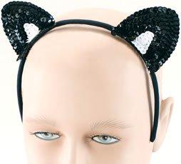 Bristol Novelty MD123 - Orejas de Gato para Mujer, Talla única, Color Blanco y Negro