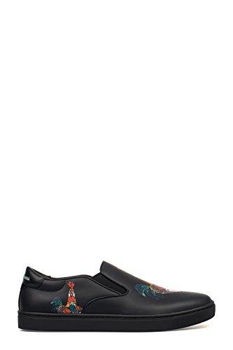 DOLCE E GABBANA Herren Cs1365ag278hn692 Schwarz Leder Slip on Sneakers (& Sneakers Gabbana Leder Dolce)