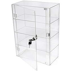 PC3721 @ 1 vitrine en Acrylique Transparent Brillant avec Porte de sécurité et verrou de sécurité (406 x 300 x 203 mm)
