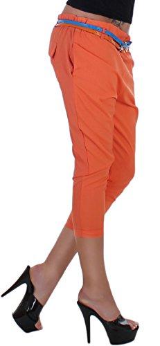 Capri-stoffhose pantalon avec taille élastique à 10 couleurs taille unique - 36S 40L Orange - Orange